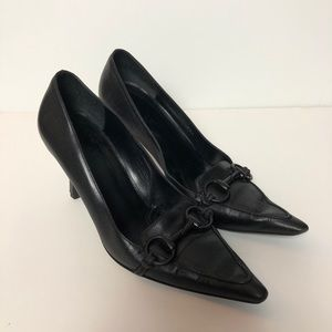 GUCCI Leather Stiletto Pointed Toe Kitten Heels